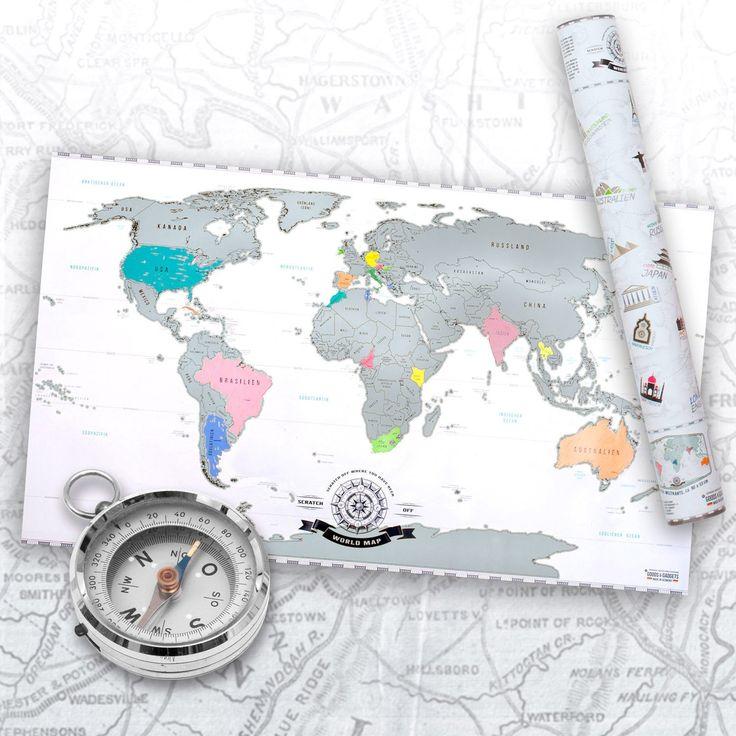 Amazon.de: Scrape Off World Map - Weltkarte zum Rubbeln - Rubbel Landkarte Deluxe Poster XXL