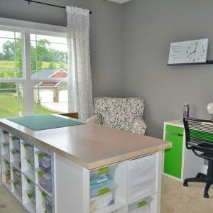 Simple Home Office With White Wooden Craft Table Blue Storage Ikea .