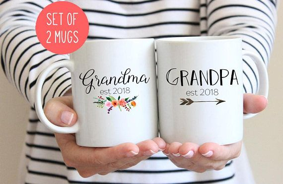 This set of two mugs is perfect for new grandparents! Includes Grandma and Grandpa mug. We can also print this with est 2018 instead of est 2017 - select the year youd like at checkout. If youd like a different year, please leave a note in the notes to seller section :-) ***YES I CAN CUSTOMIZE THESE MUGS WITH OTHER NAMES AND DATES.*** If youd like to change the names or dates, please leave a note in the notes to seller section at checkout and Ill customize them for you. About the mug…