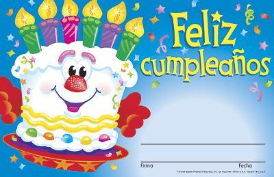 Feliz cumpleaños–pastel (Spanish Happy Birthday–Cake) Certificate