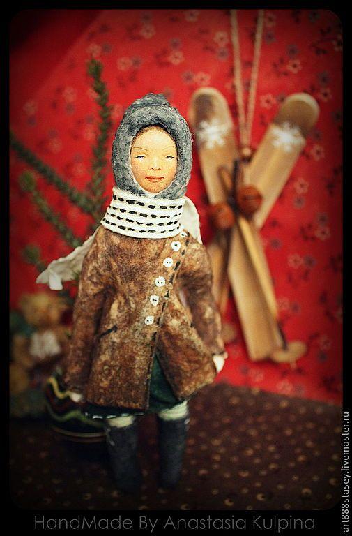 Купить Хорошая девочка Женя . игрушка из ваты на елку - елочная игрушка, на елку, ватная игрушка