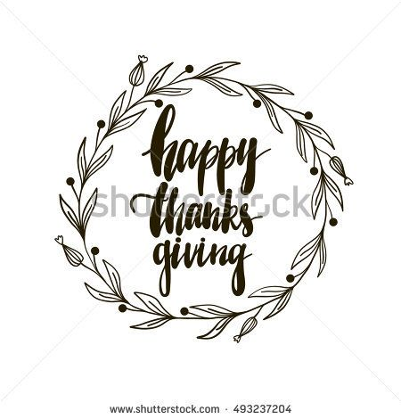 Vector hand drawn Happy Thanksgiving greeting card. Vintage lettering background
