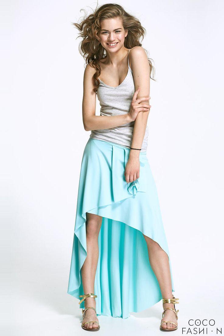 Lazure Blue Asymetrical Maxi Frilled Skirt