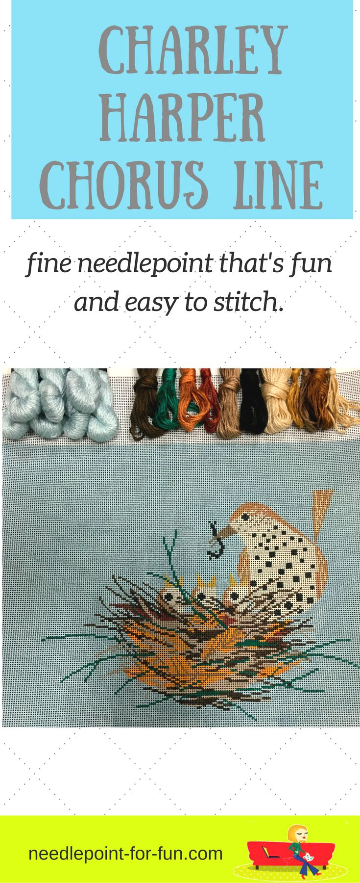 Charley Harper fun and easy needlepoint craft project.