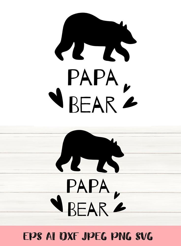 Papa Bear Silhouette Farther S Day Bear Silhouette Papa Bear Card Illustration