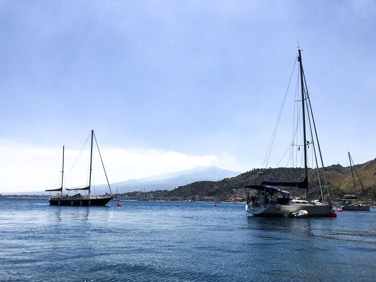 Boats near Isola Bella in Sicily.