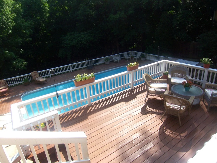 Multi Level Backyard With Pool :  + images about Decked Out on Pinterest  Patio, Decks and Landscaping