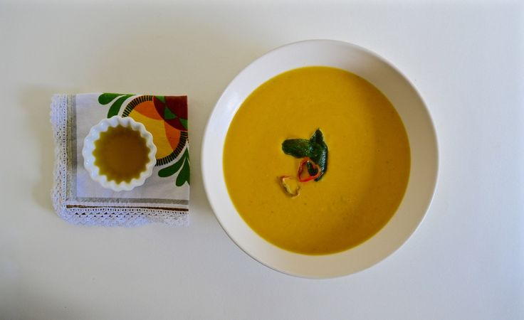 Butternut & Sweet Potato Soup with Chilli Sage Oil