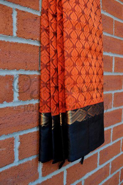 Rusty Orange Kuppadam Saree with Floral weaves all over - Aliveni  - 2