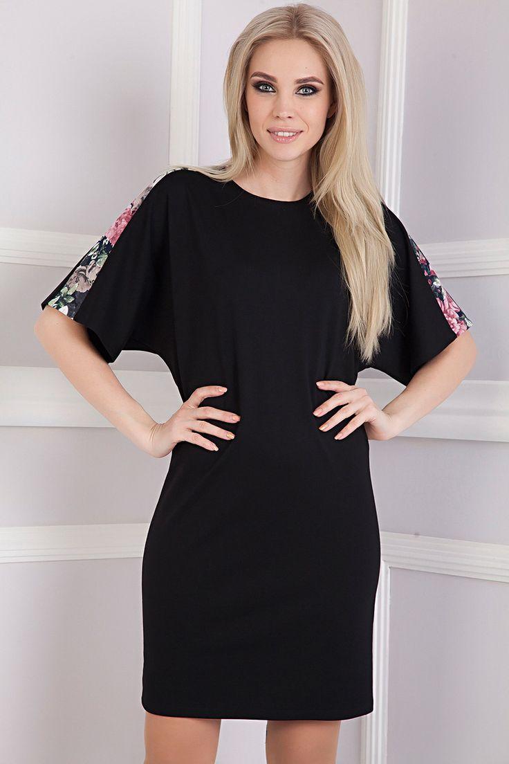 Стильное платье с широкими рукавами Акварель-4090 - интернет-магазин Moda-nsk