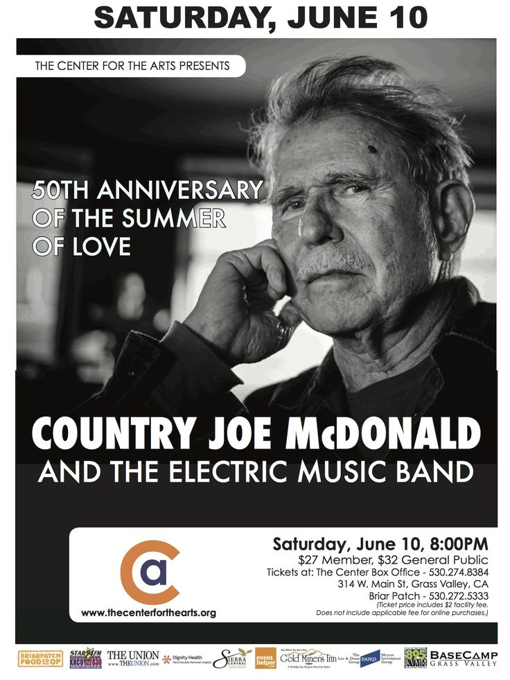 Country Joe McDonald and the Electric Music Band, Saturday, June 10th, 8pm The Center for Arts