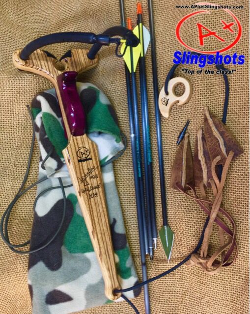 """LEVER BOW """"Apex edition"""" in exotic Leopard and Purple Heart woods. 50lbs.@28"""" power bands. Never be without a bow again...fits in a small daypack! Only from www.APlusSlingshots.com"""