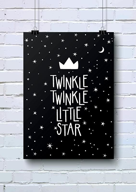 Poster Twinkle twinkle little star A4 Mooie monochrome poster, in A4 formaat, voor de babykamer en kinderkamer met tekst Twinkle twinkle little star. Ook verkrijgbaar als woonkaart in A6 formaat