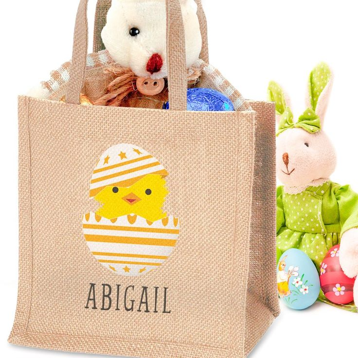15 best easter 2016 images on pinterest bunnies easter gift and personalised easter chick jute bag negle Image collections