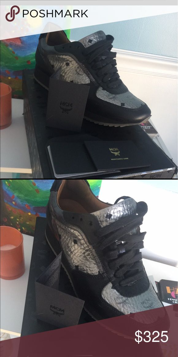 Women's mcm sneaker Silver or metallic & black size 9.5 MCM Shoes Sneakers