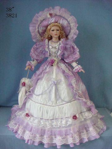 38 Inch Victorian Style Umbrella Dolls Porcelain Doll