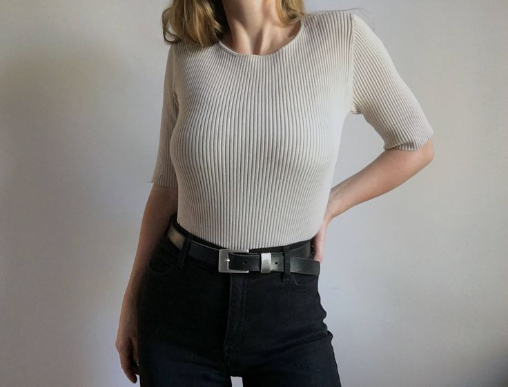 Vintage 90's Ribbed Silk Blend Top http://etsy.me/2mLK0pV #clothing#women #tshirt #s #sand #ribbed #fitted #bodycon #silk