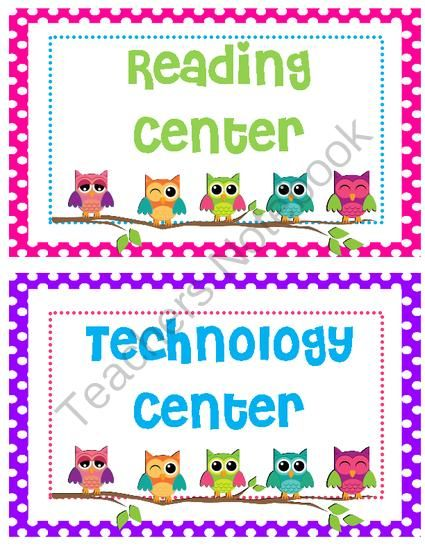 free owl themed center signs from creativesassyteacher on