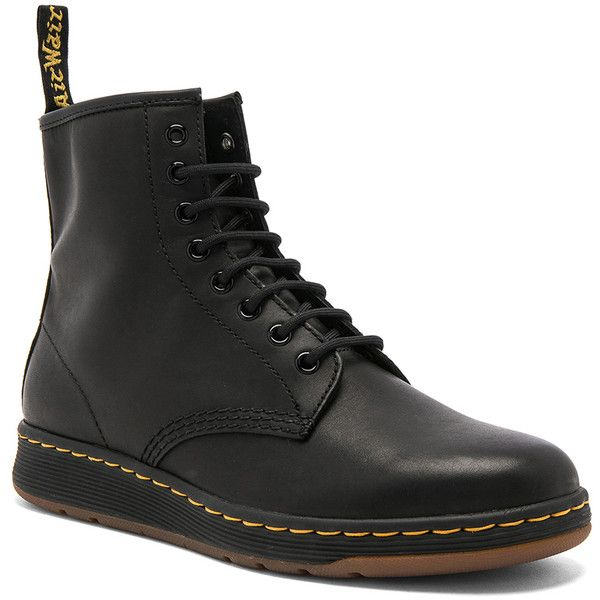 Dr. Martens Newton 8 Eye Leather Boots ($125) ❤ liked on Polyvore featuring men's fashion, men's shoes, men's boots, boots, mens leather lace up boots, mens lace up boots, mens leather shoes, low heel mens dress shoes and mens lace up shoes