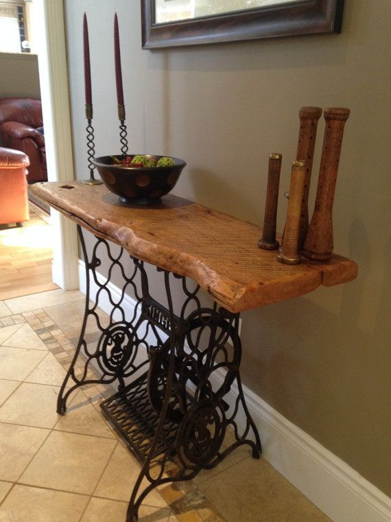 Reclaimed Barn Wood table on antique Singer sewing… – #antique #Barn #machine …
