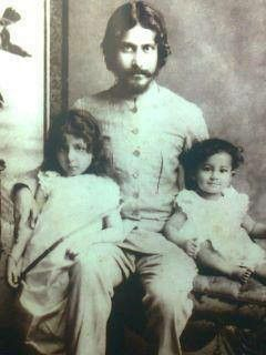 Rabindranath Tagore with his son n daughter