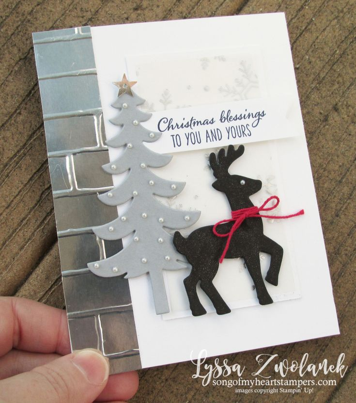 Sleigh ride framelits Christmas holiday card greeting DIY handmade reindeer