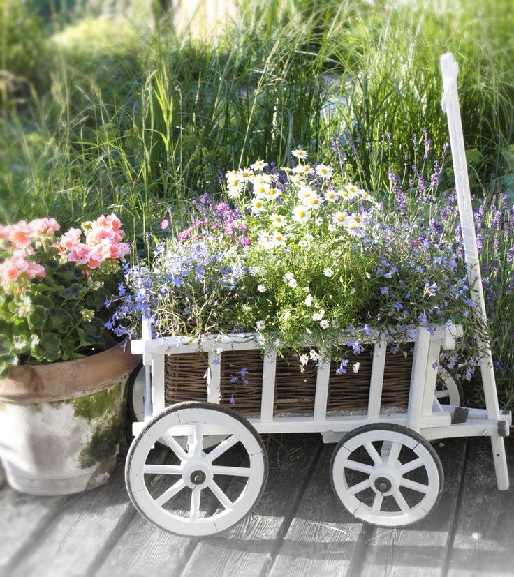 vintage garten bollerwagen mit blumen bepflanzen leiterwagen bollerwagen und margeriten. Black Bedroom Furniture Sets. Home Design Ideas
