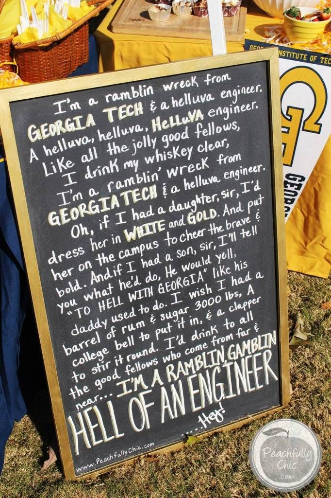 Georgia Tech Fight Song Chalkboard Sign - Tailgate Decor