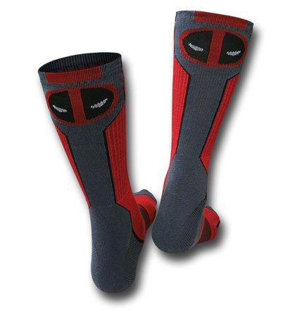 The Deadpool Symbol Active Crew Socks are for those of you who like Deadpool, like to keep in shape for when you need to do some major butt-kicking! These socks feature advanced moisture control fibers, an embedded arch support band and have a ventilated mesh instep... can you really ask for anything more in a sock?! As if they aren't impressive enough the Deadpool Symbol Active Crew Socks are made from 98% polyester 2% spandex feature the Deadpool symbol on a red, black and grey color…