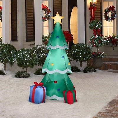 Airblown christmas tree with presents inflatable lighted yard decor