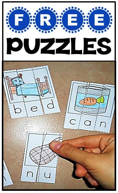 FREE puzzles for phonics & CVC words - great for literacy centers! - Repinned by Totetude.com