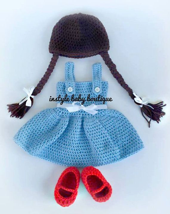 .... Were off to see the Wizard .. ..  This listing is for our Baby Dorothy crochet set. This is the perfect set for your little baby girl. Set