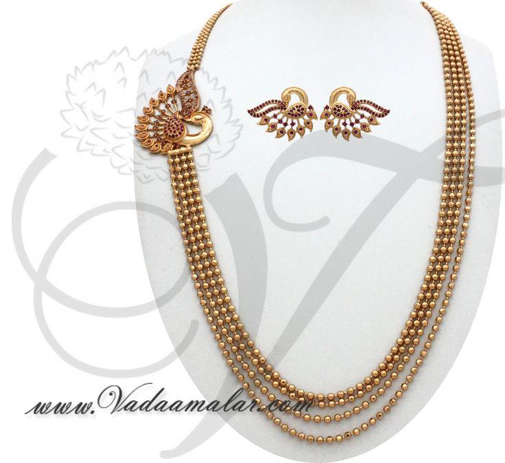 Peacock design side pendant step necklace chain mugappu for Sarees Details : https://www.vadaamalar.com/peacock-deign-pendant-chain-7625.html