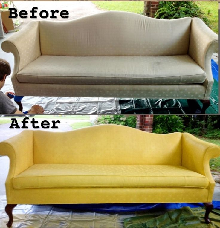 """Couch painted with Krylon spray paint. Color used =""""Bright Idea"""". Only 6 cans used. 2 coats."""
