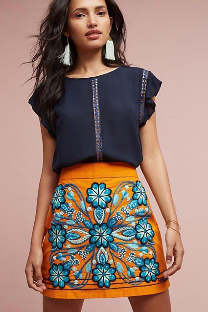 Harare Monique Embroidered Mini Skirt