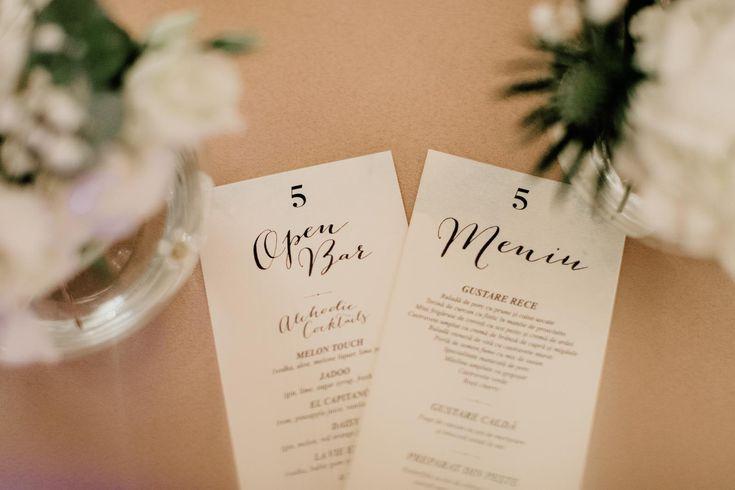 wedding menu by The Guest List wedding planner in Iasi, Romania.