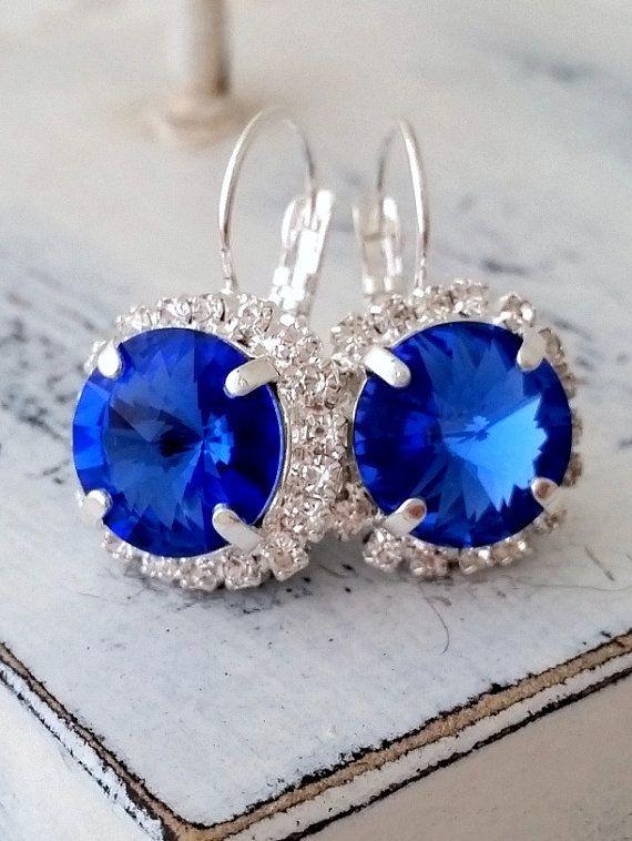 Sapphire blue crystal earrings | Sapphirebridal earrings | sapphire blue wedding | bridesmaids gift