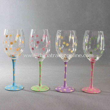 Wine Glasses with Hand Painted, Measures 8 x 23cm, Various Colors are Available