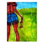 Woman with Bottle of Whiskey Postcard #Texas