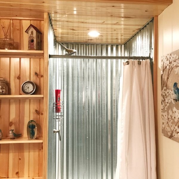 Diy Corrugated Metal Shower An Awful Plumbing Issue Turned Awesome Tin Shower Walls Rustic Bathroom Shower Corrugated Metal Wall