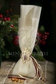 Μένη Ρογκότη - Χριστουγεννιάτικη μπομπονιέρα γάμου ιβουάρ με μεταλλικό περίγραμμα ρόδι