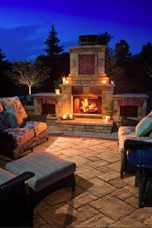 Backyard patio, outdoor fireplace I love.