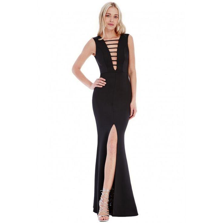 Długa sukienka na wesele z modnym, głębokim dekoltem w czarnym kolorze