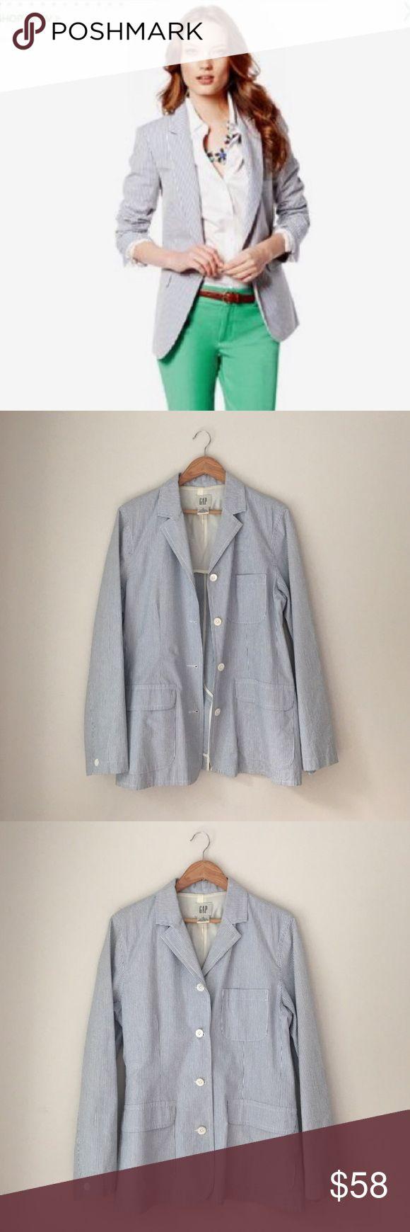 GAP Blue Seersucker Blazer Size 14 Classic seersucker blazer in blue by the GAP. 100% cotton. (Model is wearing slightly different style). Size 14. Excellent condition. GAP Jackets & Coats Blazers