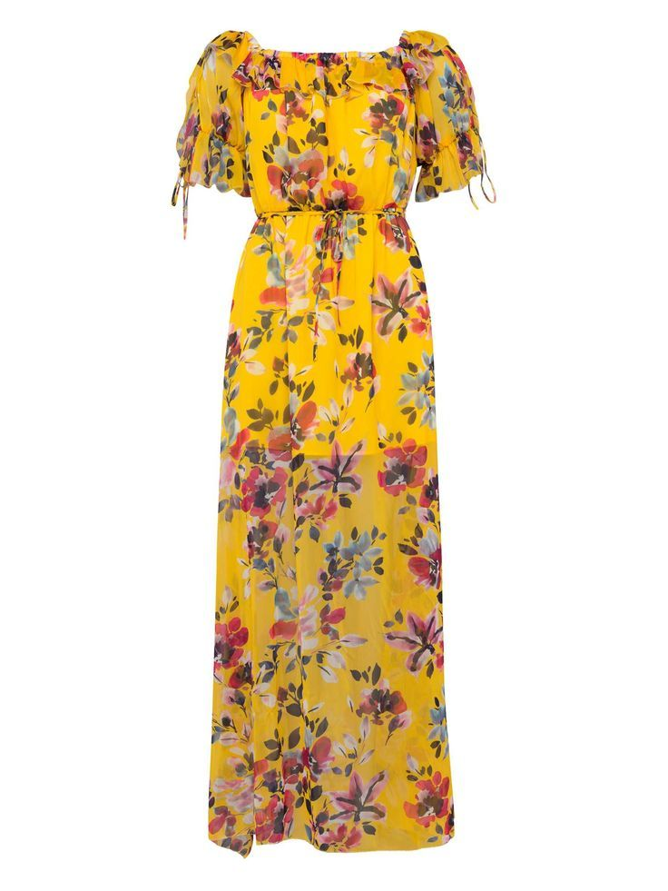 French Connection Linosa Crinkle Off The Shoulder Maxi Dress Maxi Dress Floral Dress Yellow Dress Crinkle Dress Holid Fashion Maxi Dress Summer Dresses Uk