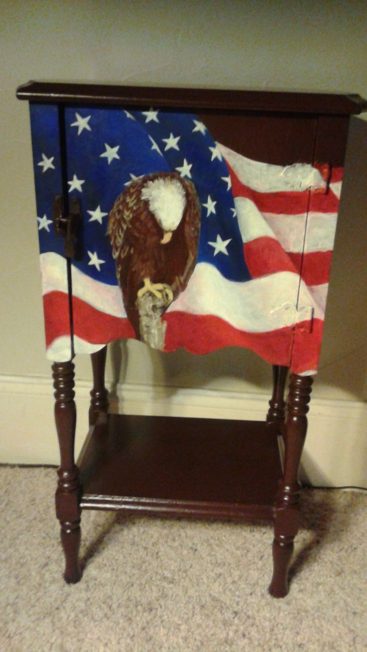 Hand Painted American Flag And Eagle On Table Painted