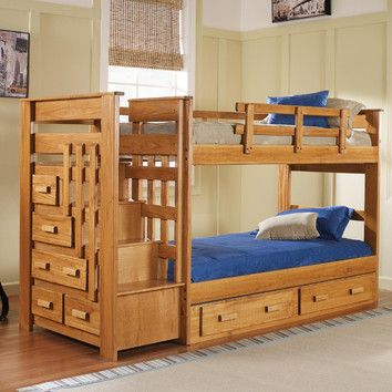 Chelsea Home Twin over Twin Standard Bunk Bed with Stairway and Underbed Storage maybe replace dresser with step drawers..diy plan for step drawers on anna white