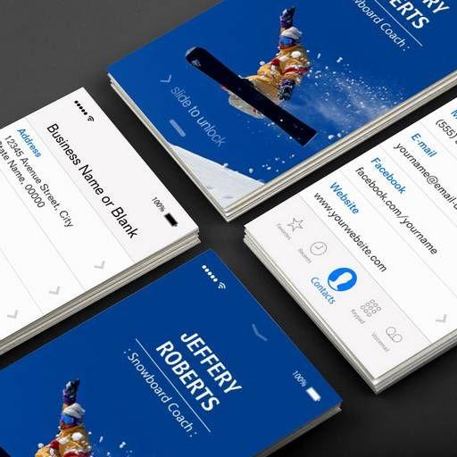 Creative Snowboard Coach Instructor Business Card Templates