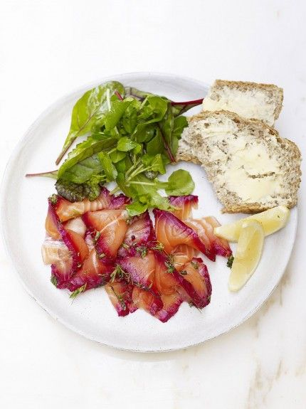 Beetroot Gravadlax   Jamie Oliver   Jamie's Food Escapes Stockholm featured this recipe with the sour cream sauce from Super-Quick Salmon Gravlax With Horseradish Sauce & Beautiful Beets - a combo of the 2 recipes