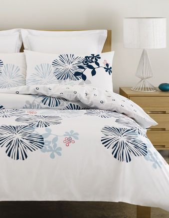 Vue - Woodcut Bed Linen. I like this as it has lots of white as a background, blues for you and a bit of red to tie in with the artwork